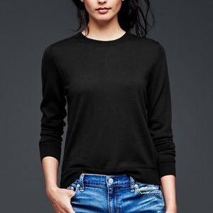 GAP Crew Pullover Solid Cotton Blend Sweater